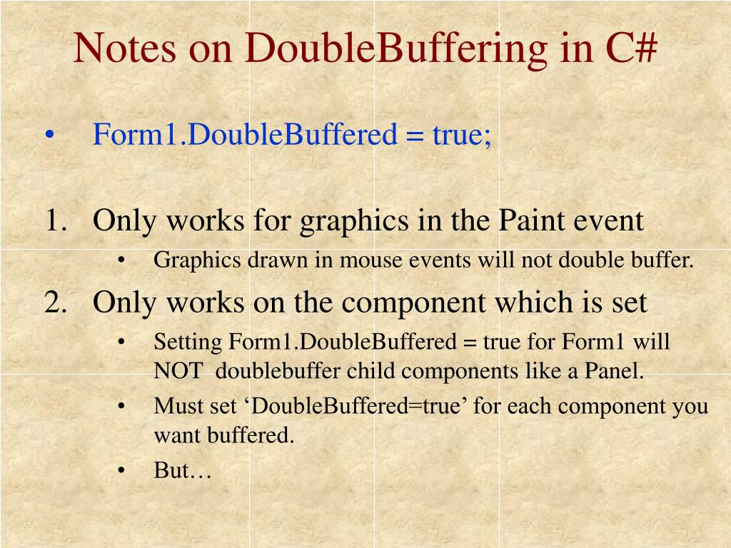 Notes on DoubleBuffering in C#