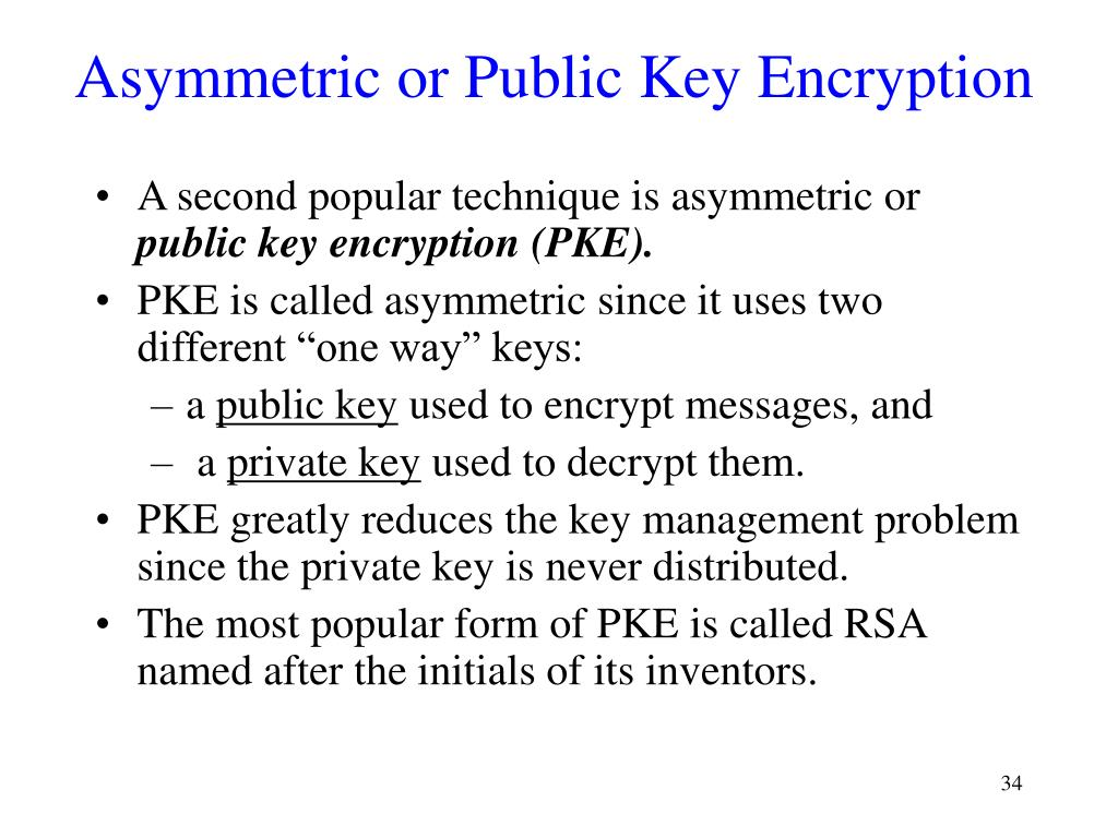 Asymmetric or Public Key Encryption