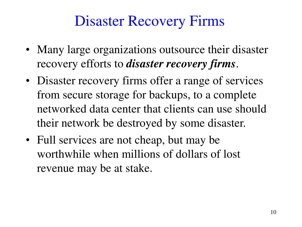 Disaster Recovery Firms