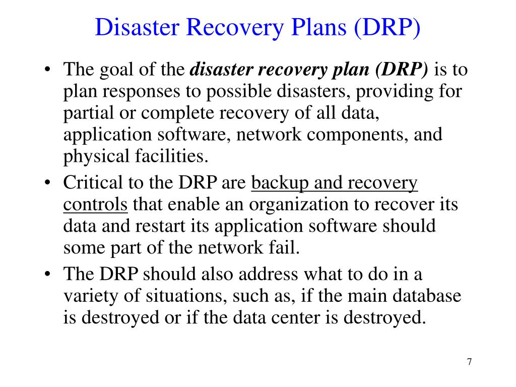 Disaster Recovery Plans (DRP)