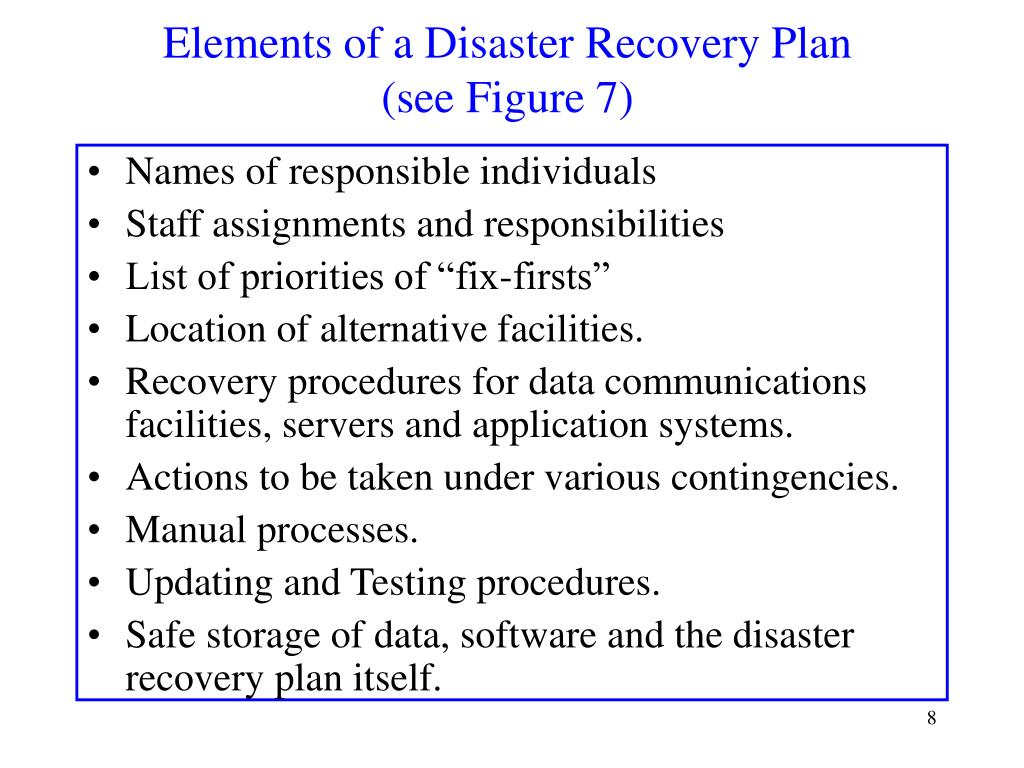 Elements of a Disaster Recovery Plan
