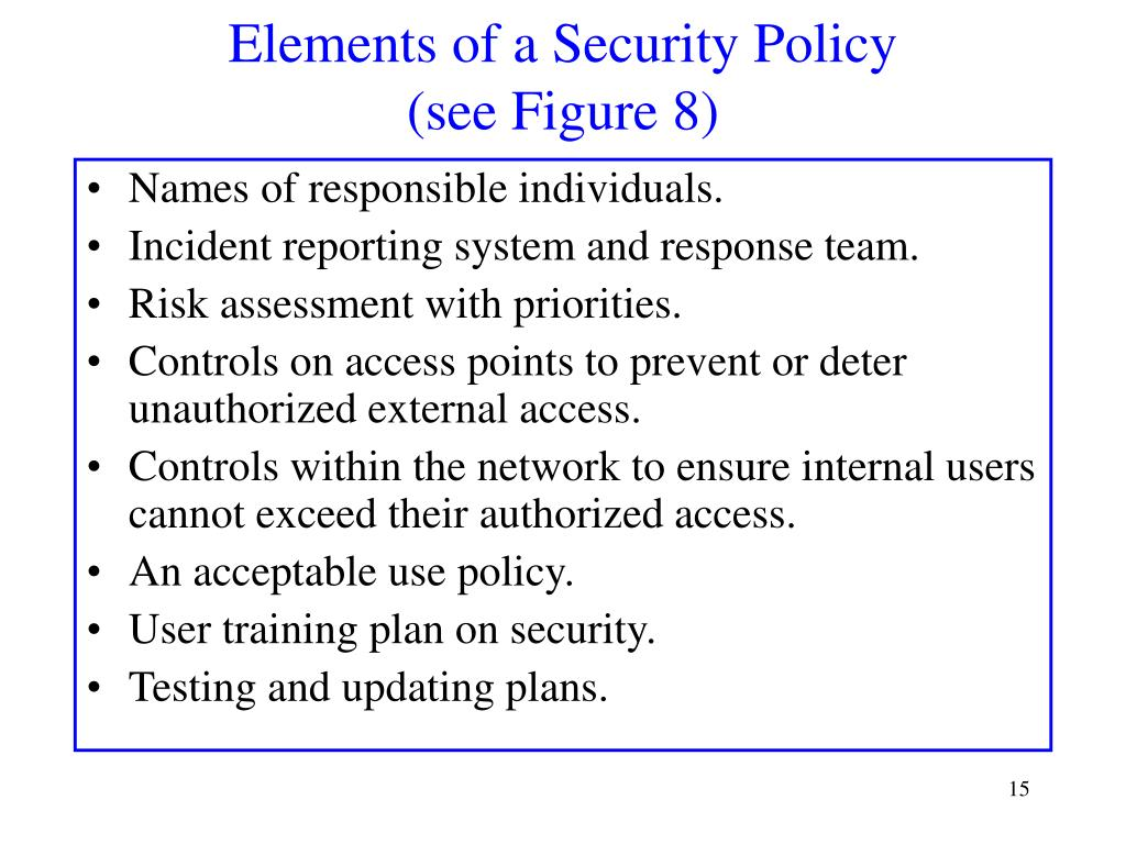 Elements of a Security Policy
