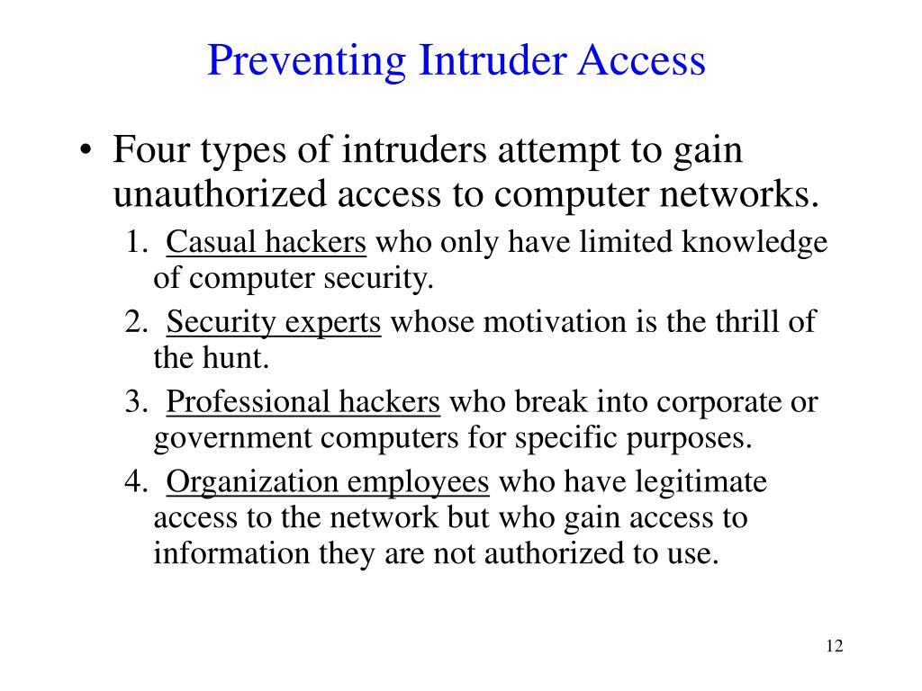 Preventing Intruder Access