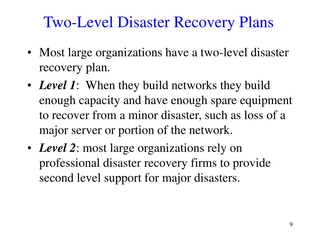 Two-Level Disaster Recovery Plans
