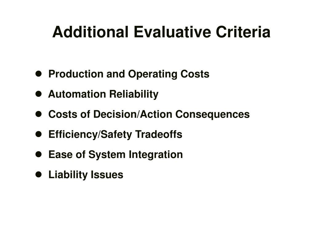 Additional Evaluative Criteria