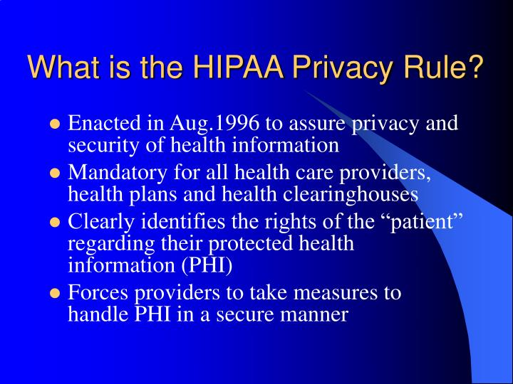What is the hipaa privacy rule l.jpg