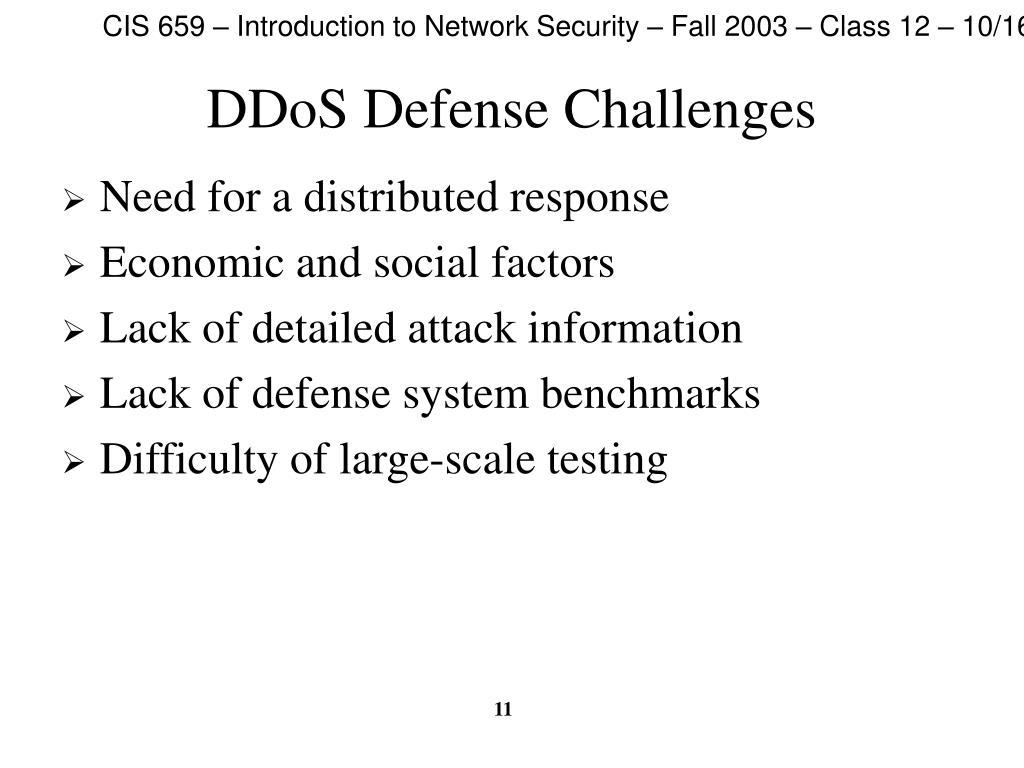 DDoS Defense Challenges