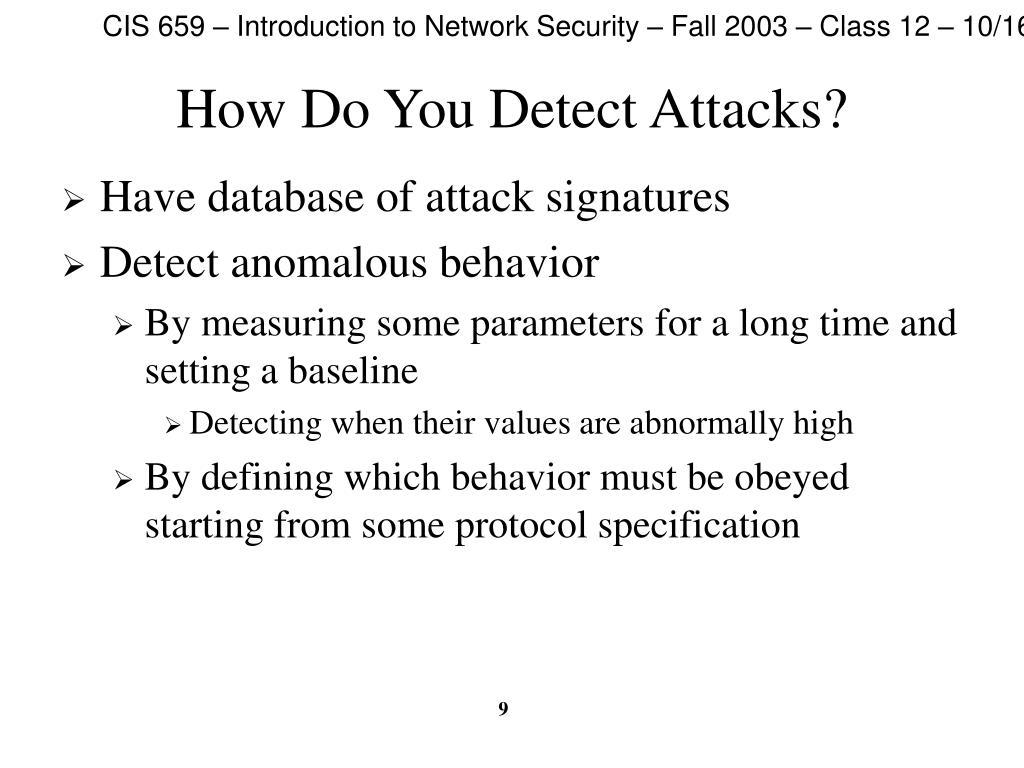 How Do You Detect Attacks?