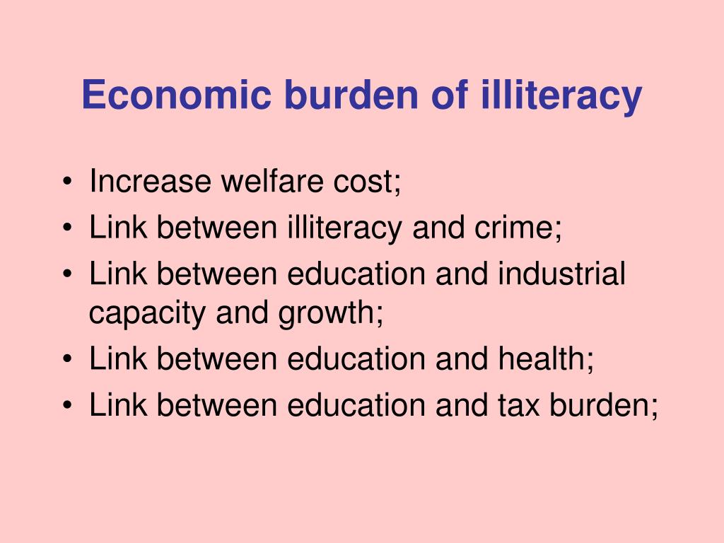 Economic burden of illiteracy