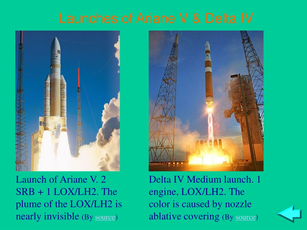Launches of Ariane V & Delta IV