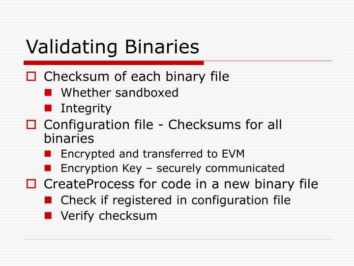 Validating Binaries