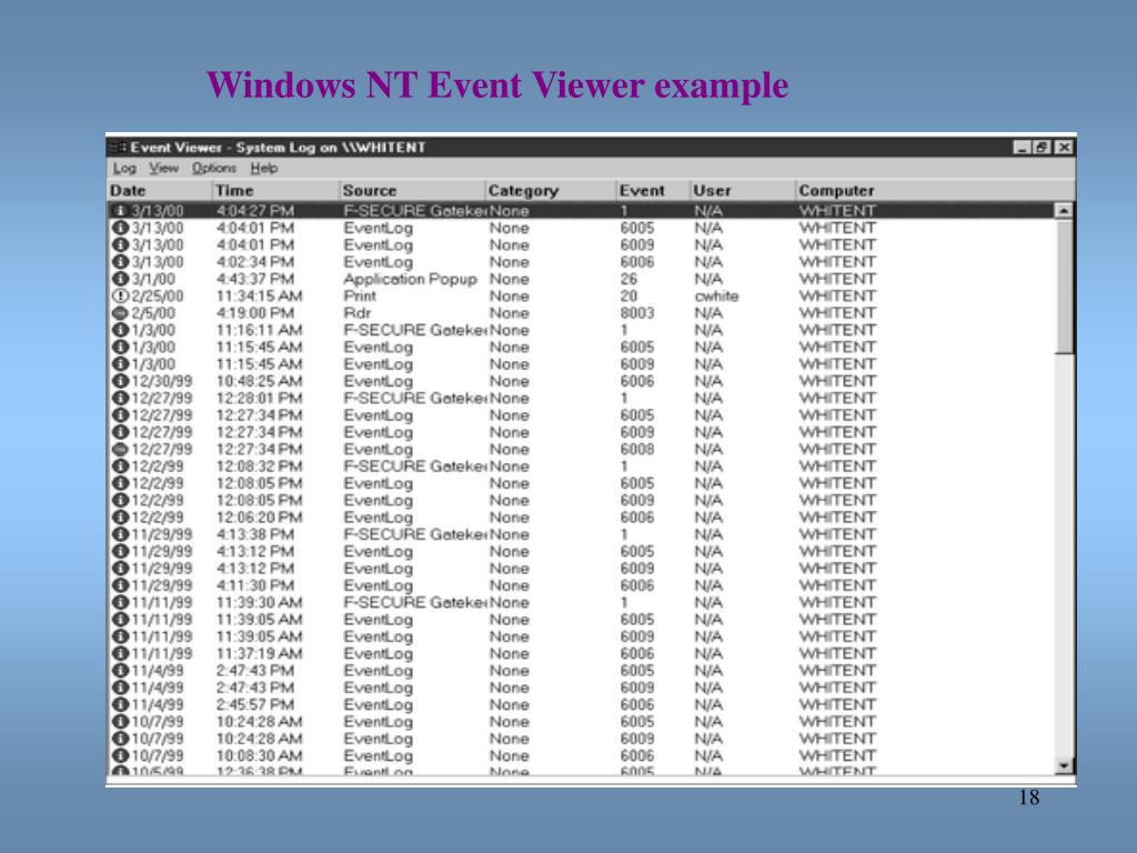 Windows NT Event Viewer example