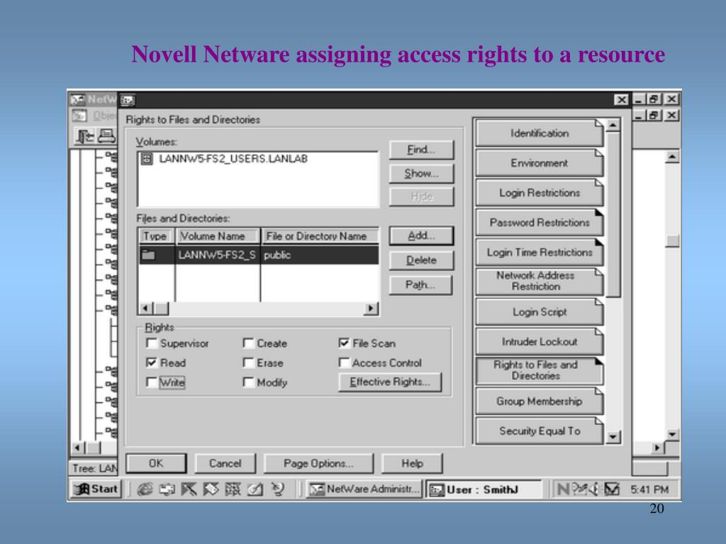 Novell Netware assigning access rights to a resource