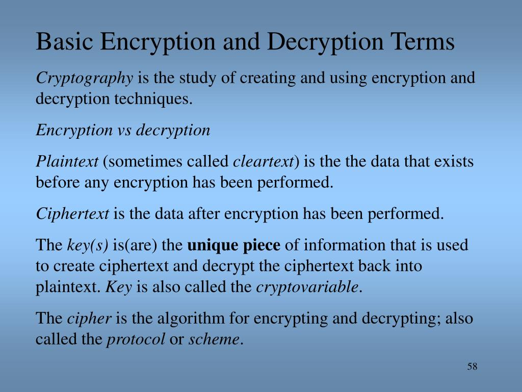 Basic Encryption and Decryption Terms