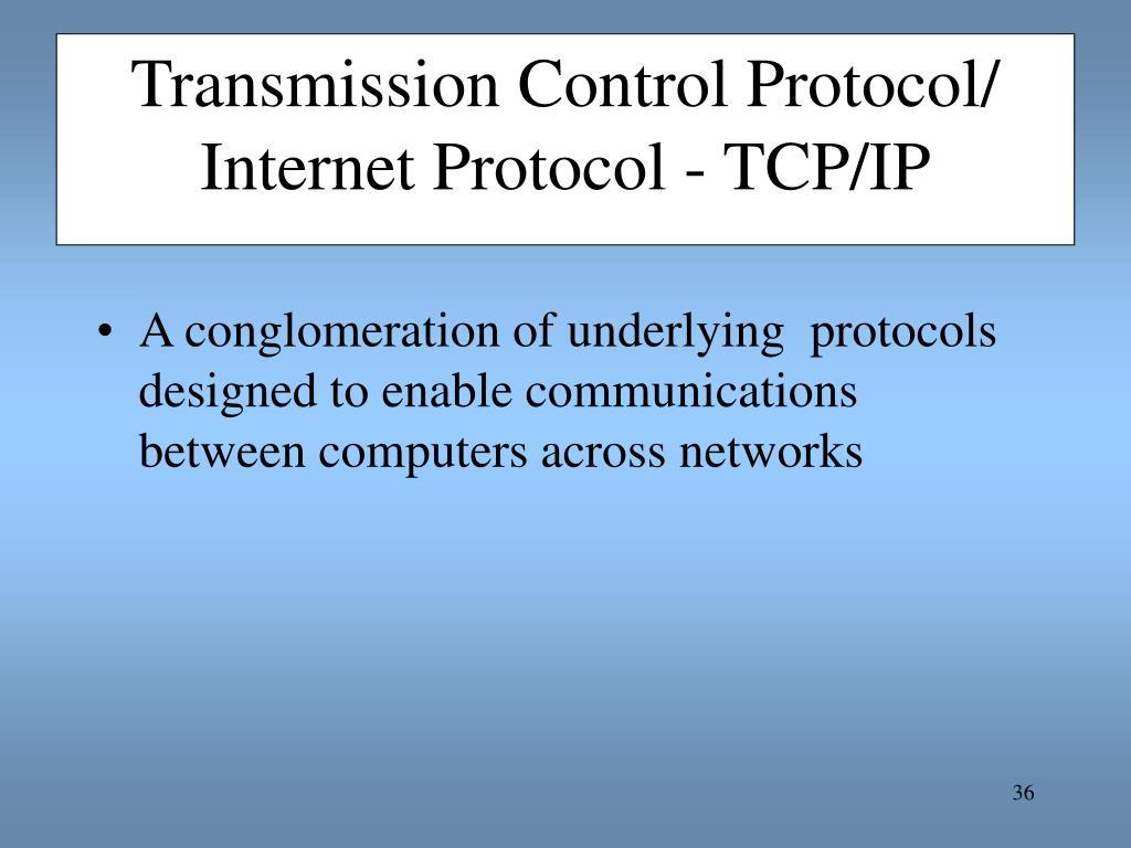 Transmission Control Protocol/ Internet Protocol - TCP/IP