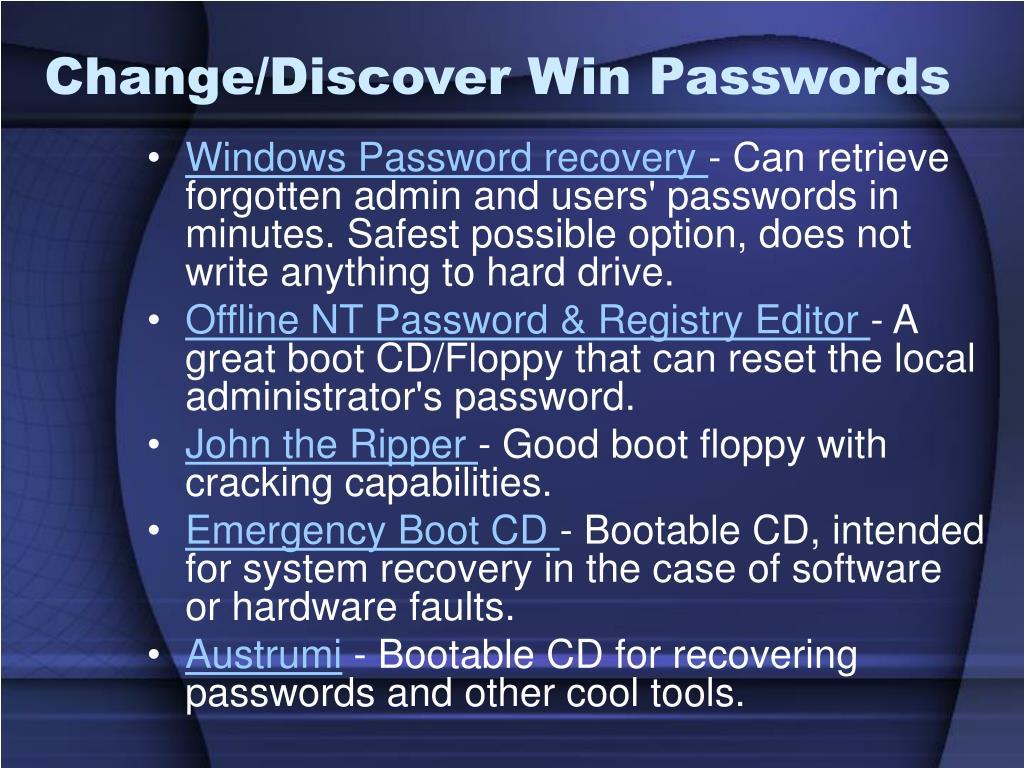 Change/Discover Win Passwords
