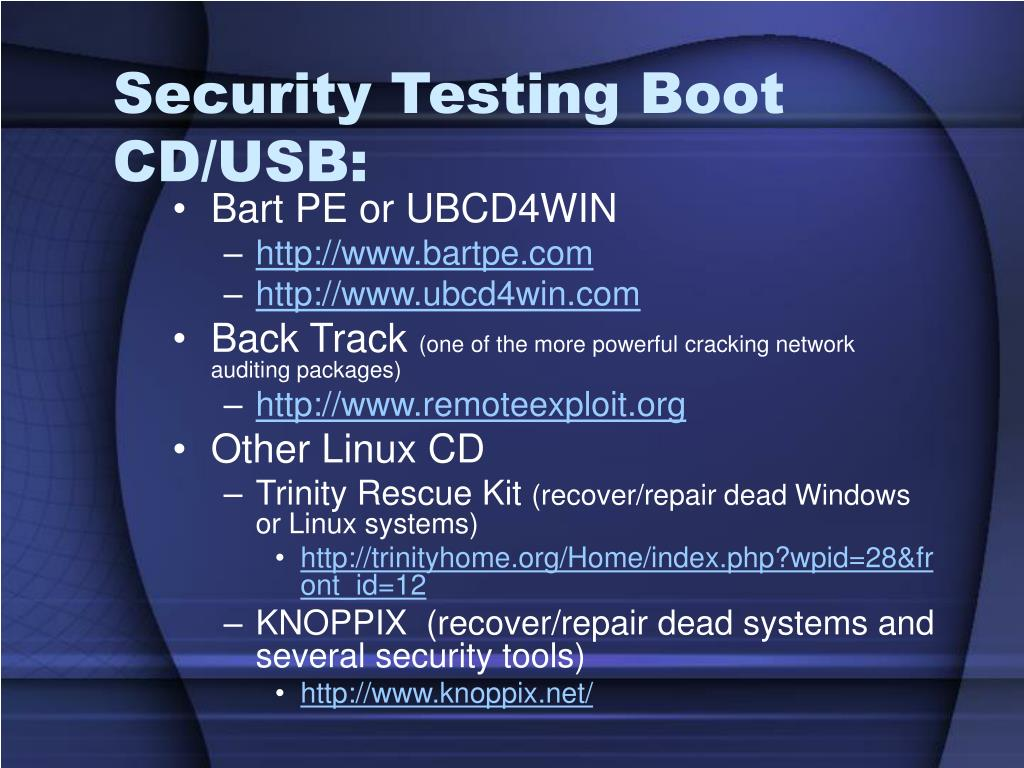 Security Testing Boot CD/USB: