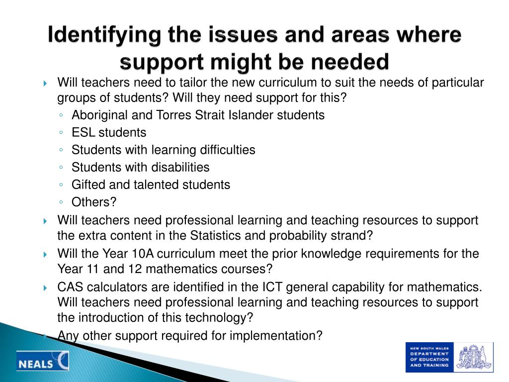 Identifying the issues and areas where support might be needed