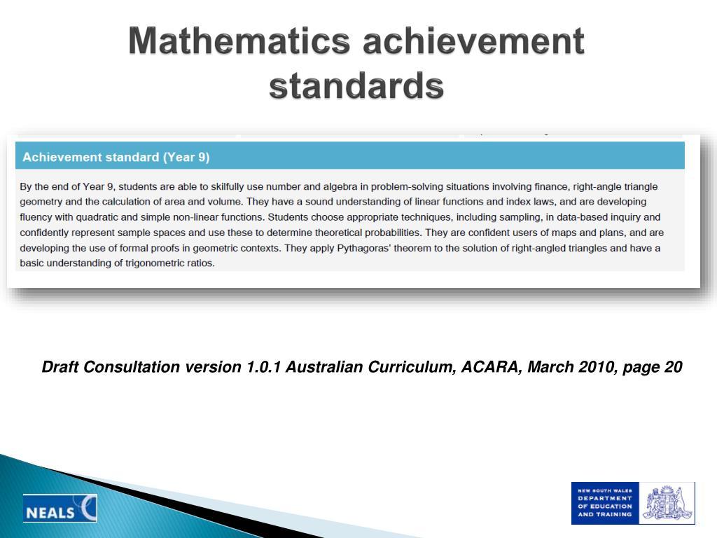 Mathematics achievement standards