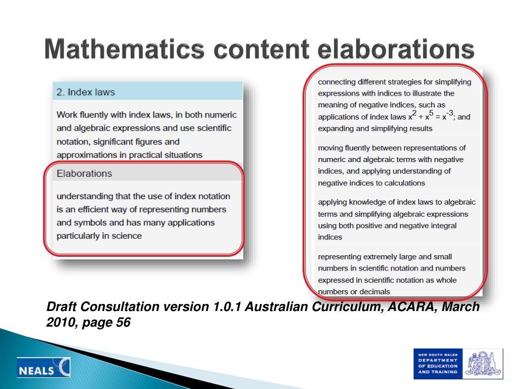 Mathematics content elaborations