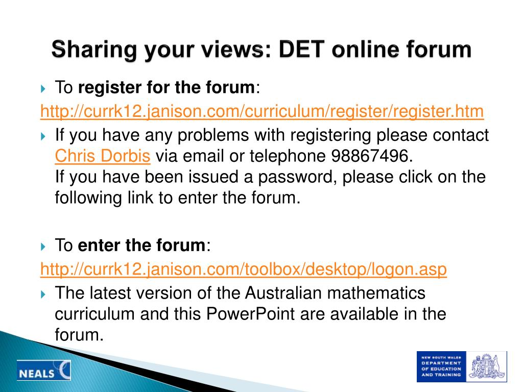 Sharing your views: DET online forum