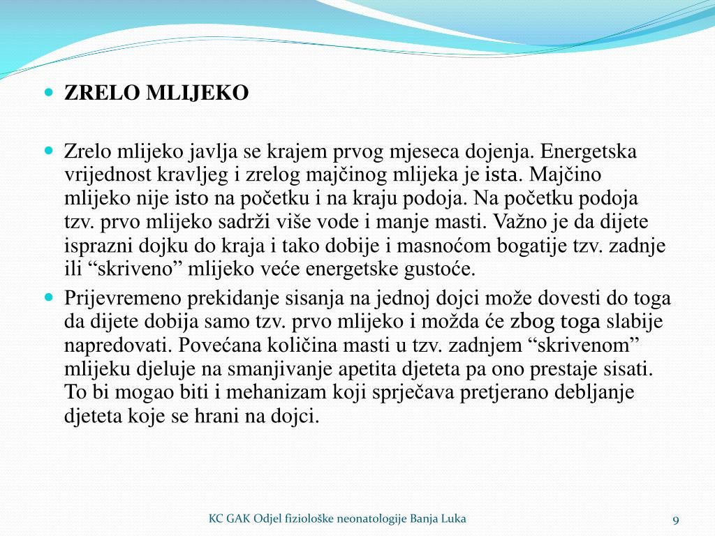 ZRELO MLIJEKO