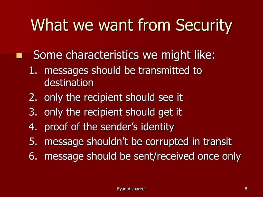 What we want from Security