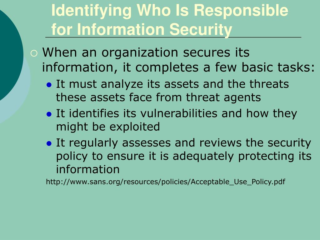 Identifying Who Is Responsible for Information Security