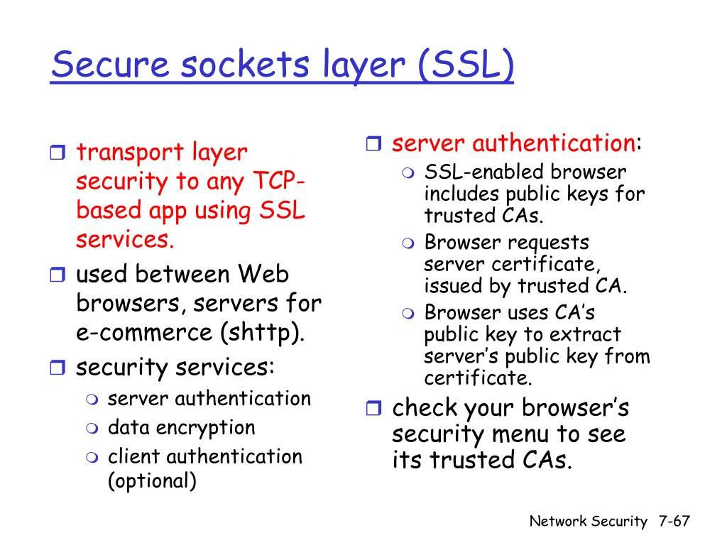 transport layer security to any TCP-based app using SSL services.