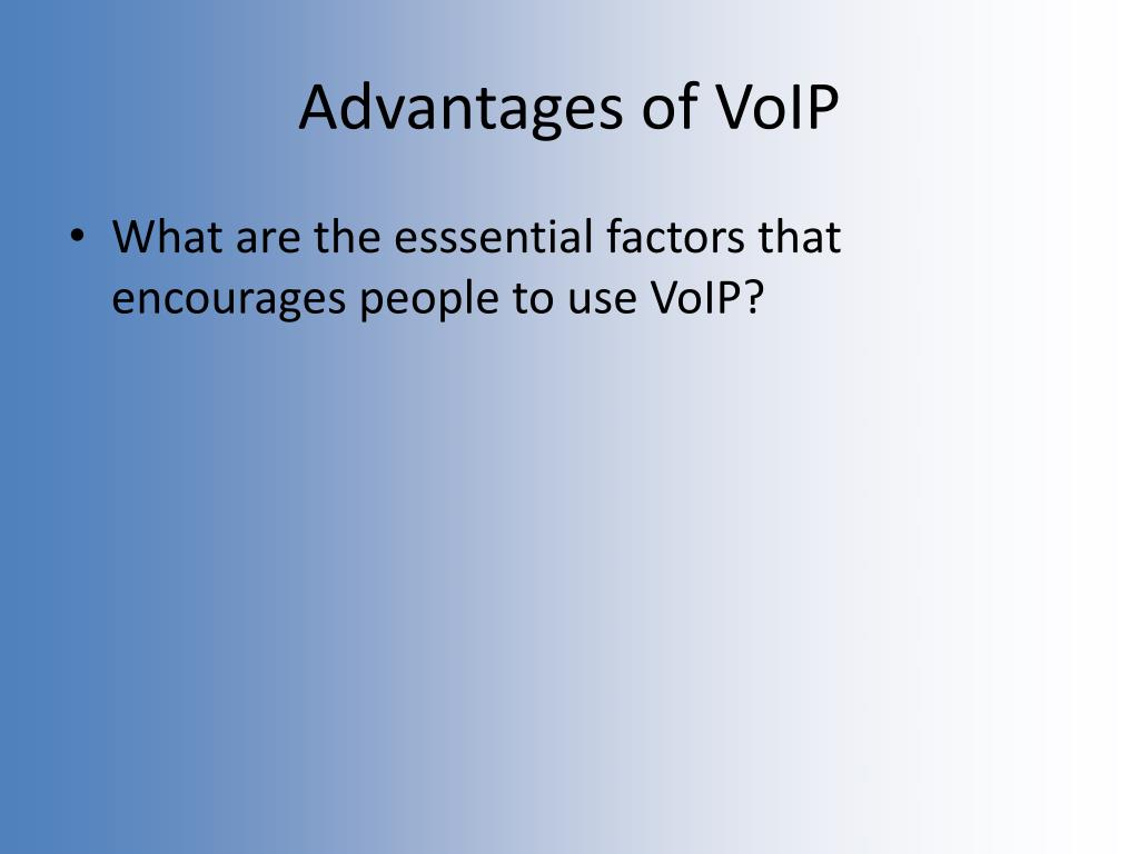 Advantages of VoIP