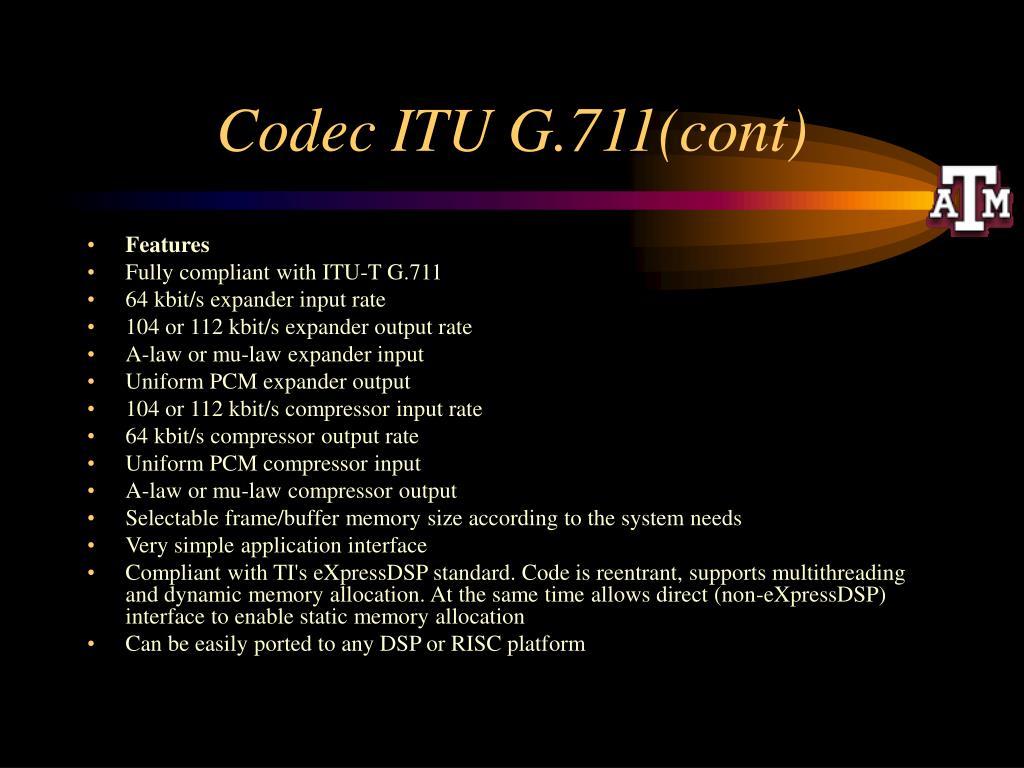Codec ITU G.711(cont)
