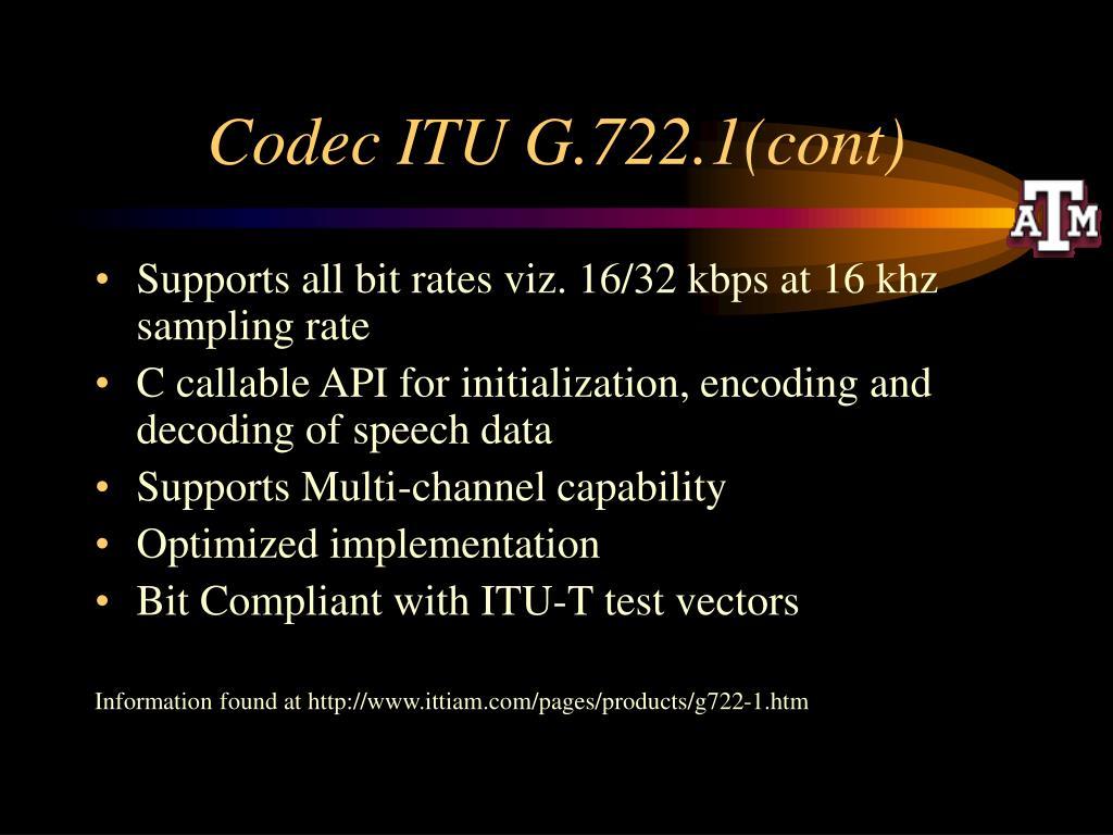 Codec ITU G.722.1(cont)