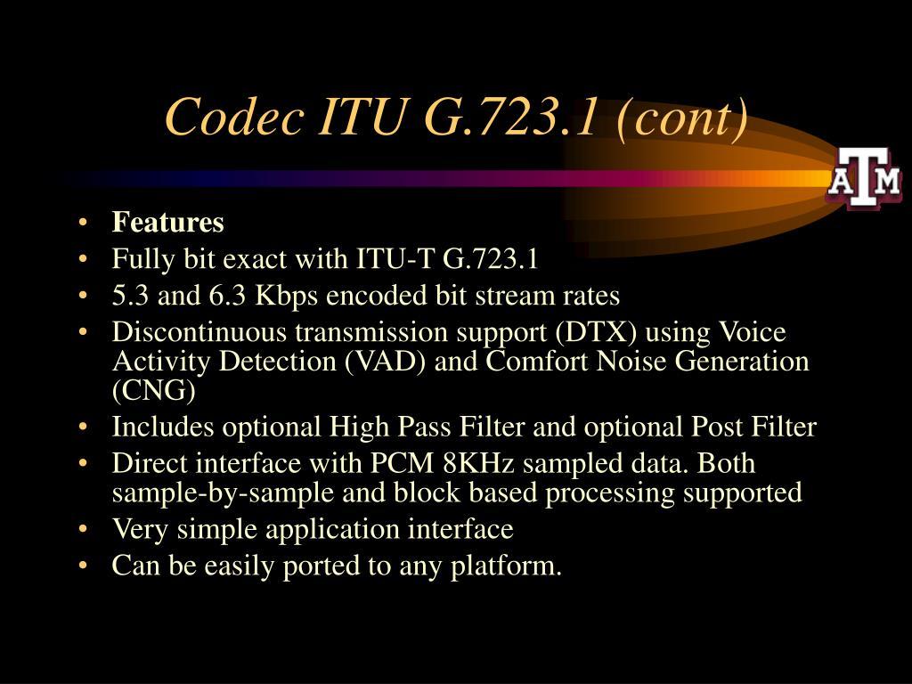 Codec ITU G.723.1 (cont)