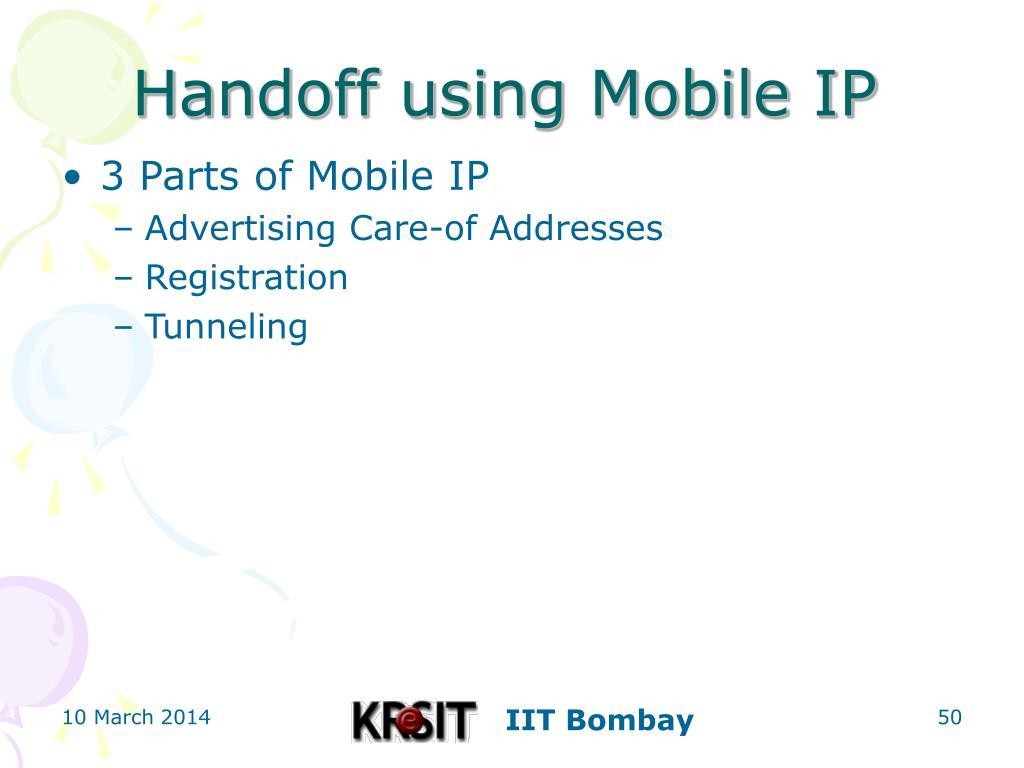 Handoff using Mobile IP