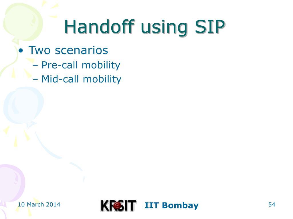 Handoff using SIP