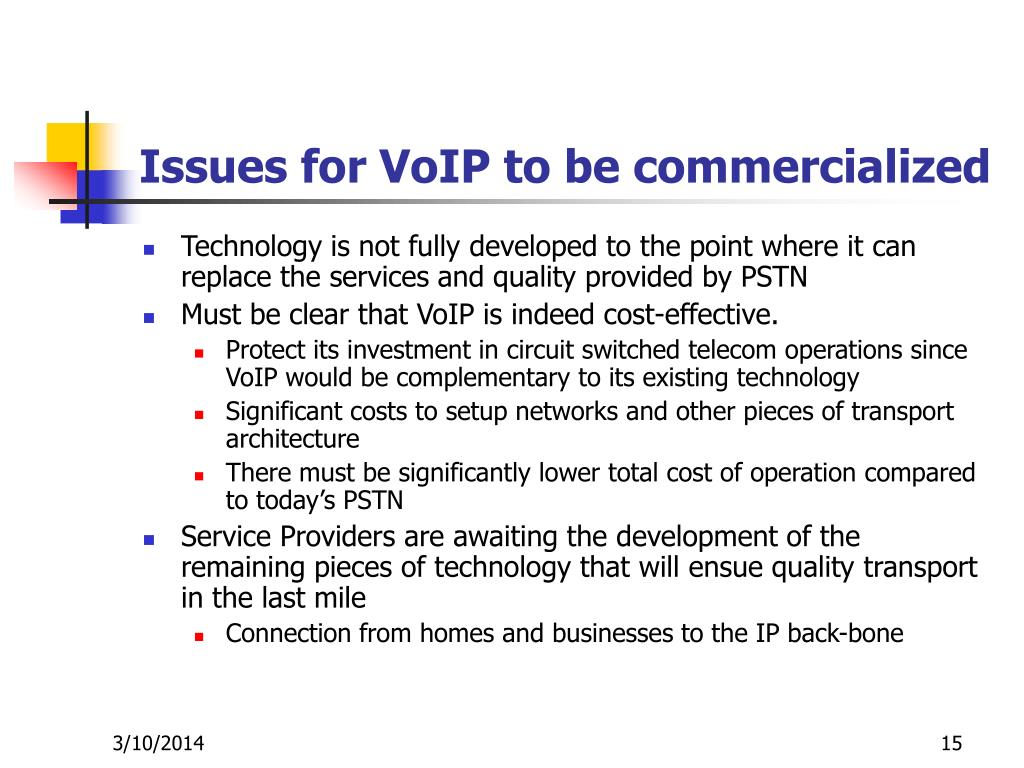 Issues for VoIP to be commercialized