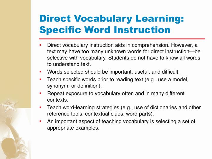 Direct Vocabulary Learning: Specific Word Instruction