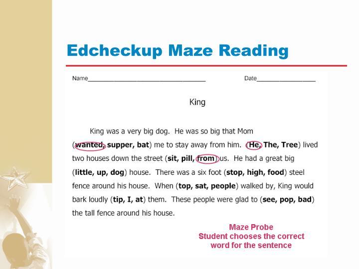 Edcheckup Maze Reading