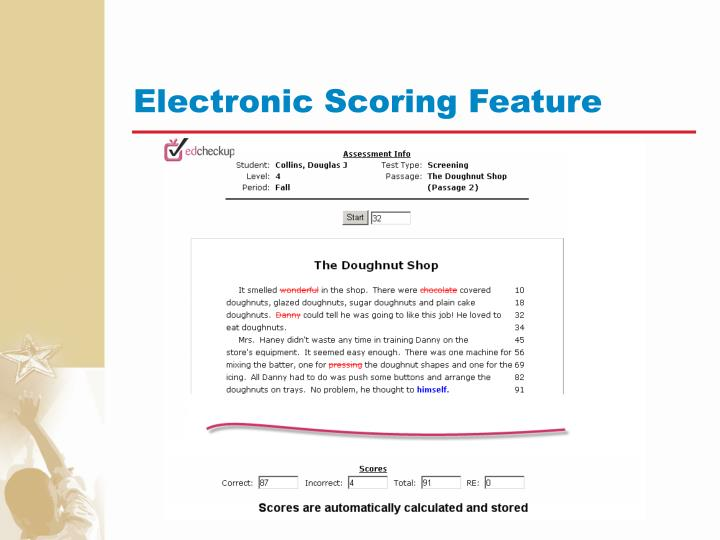 Electronic Scoring Feature