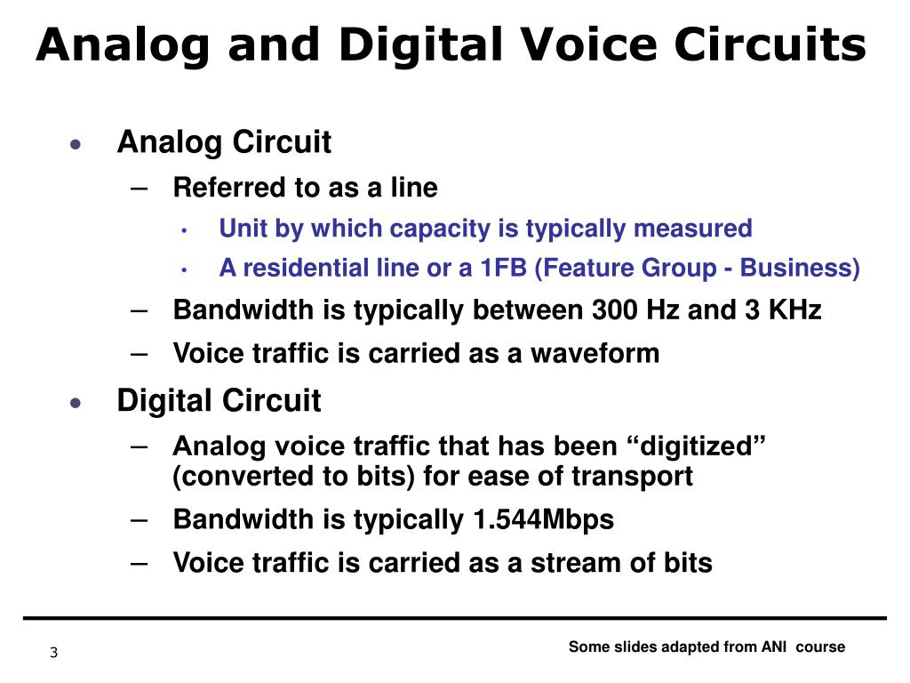 Analog and Digital Voice Circuits