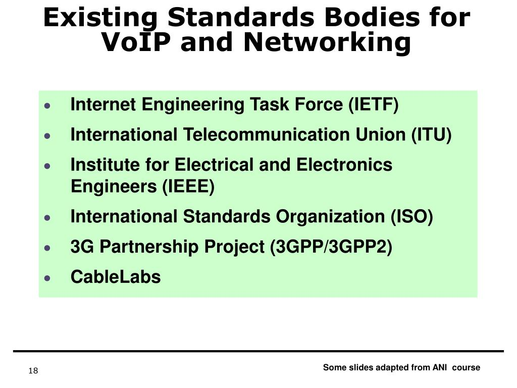 Existing Standards Bodies for VoIP and Networking