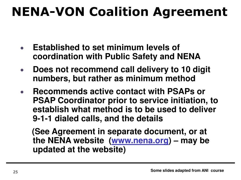 NENA-VON Coalition Agreement