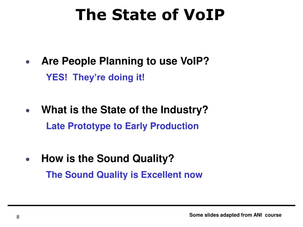 The State of VoIP