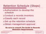 retention schedule steps