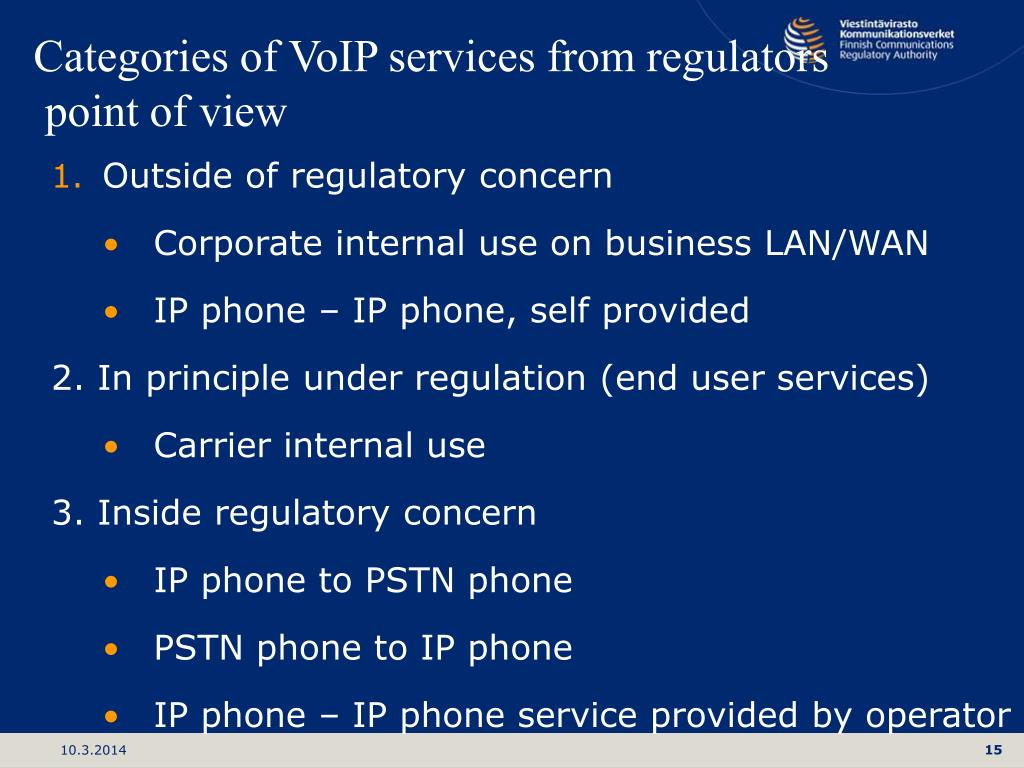 Categories of VoIP services from regulators