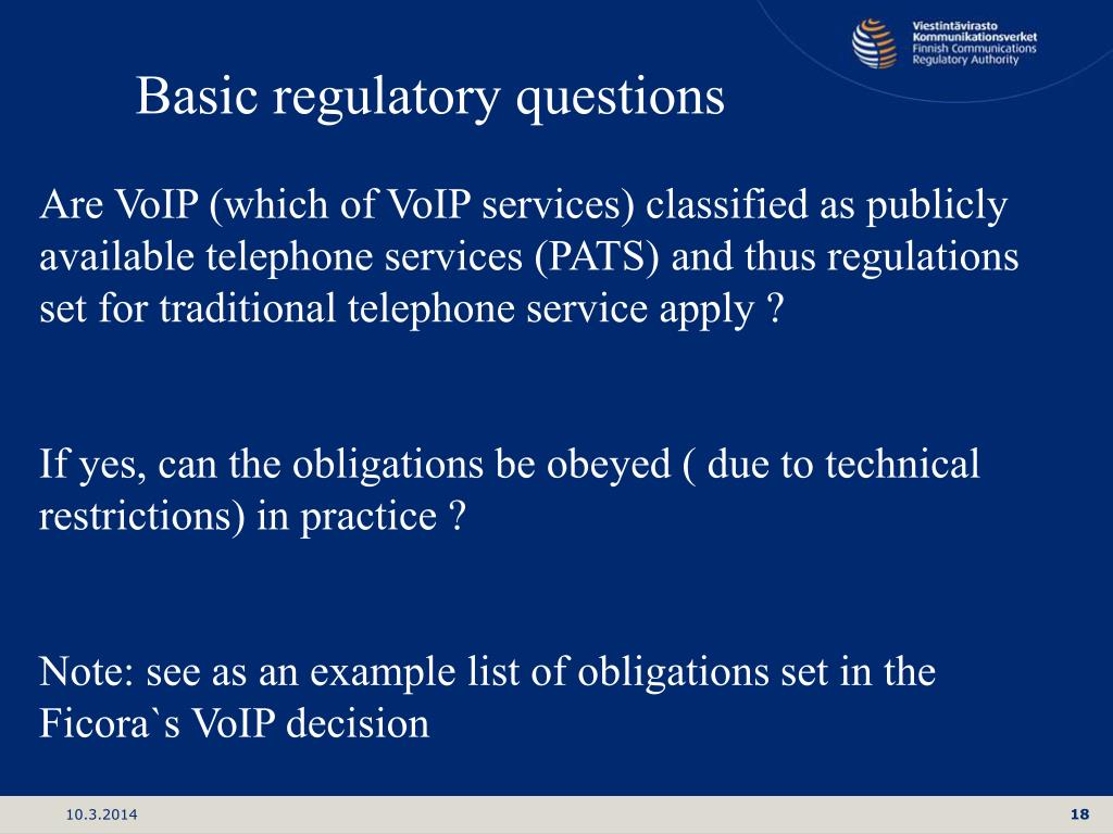 Basic regulatory questions