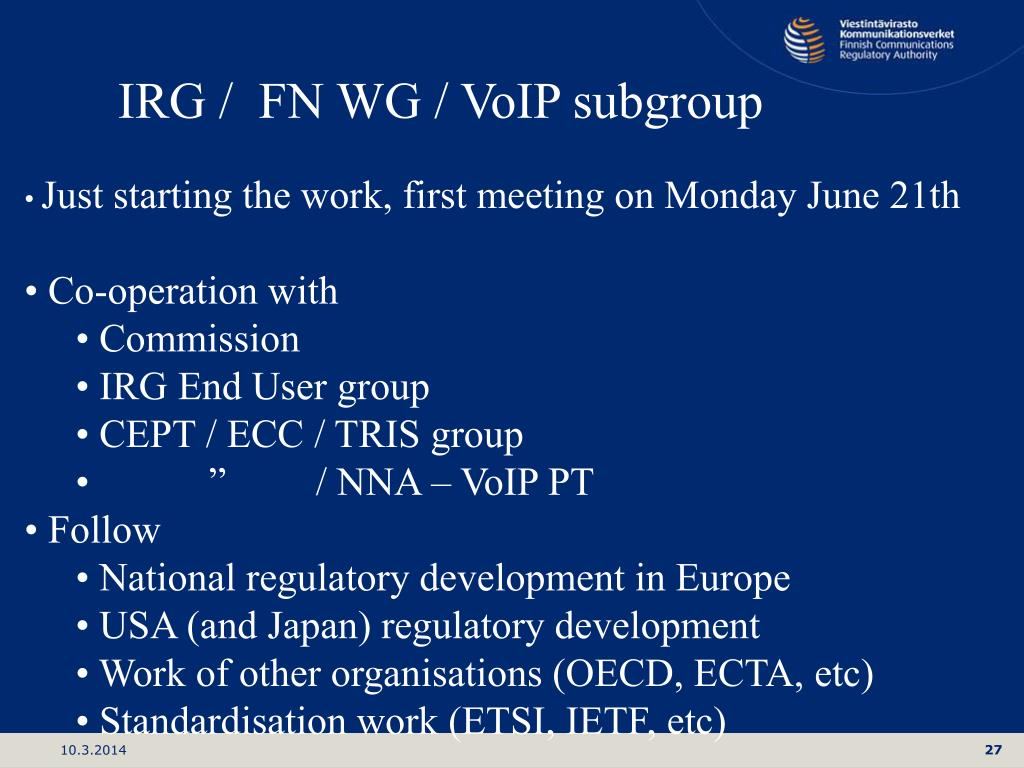 IRG /  FN WG / VoIP subgroup