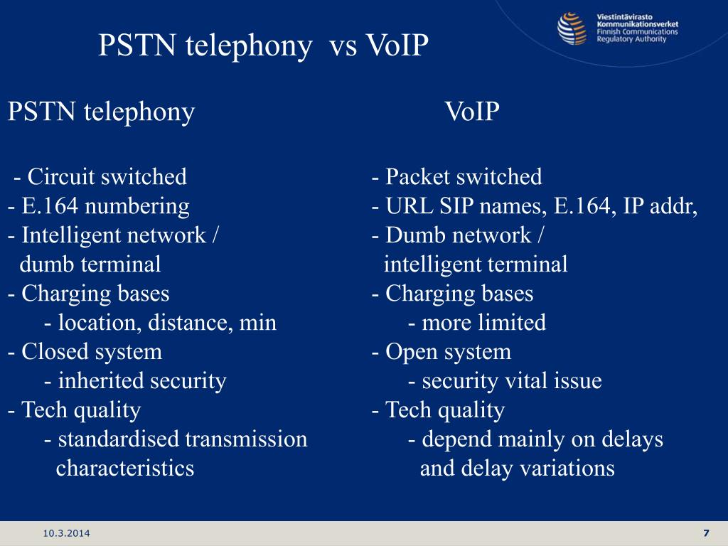 PSTN telephony  vs VoIP