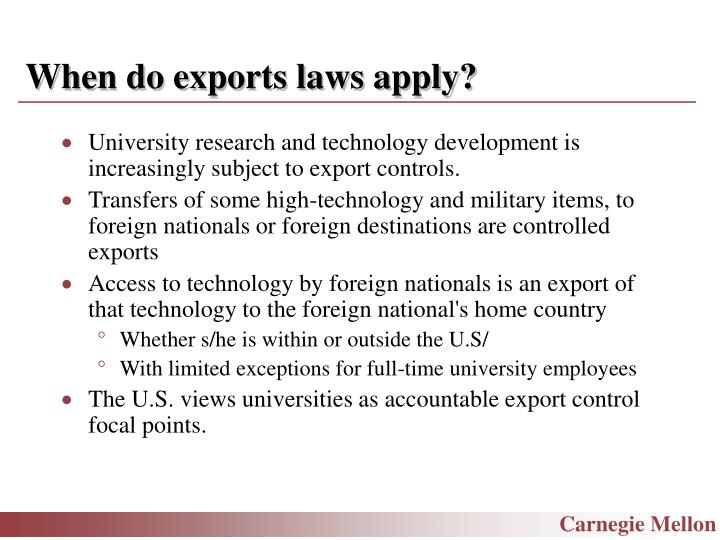 When do exports laws apply?