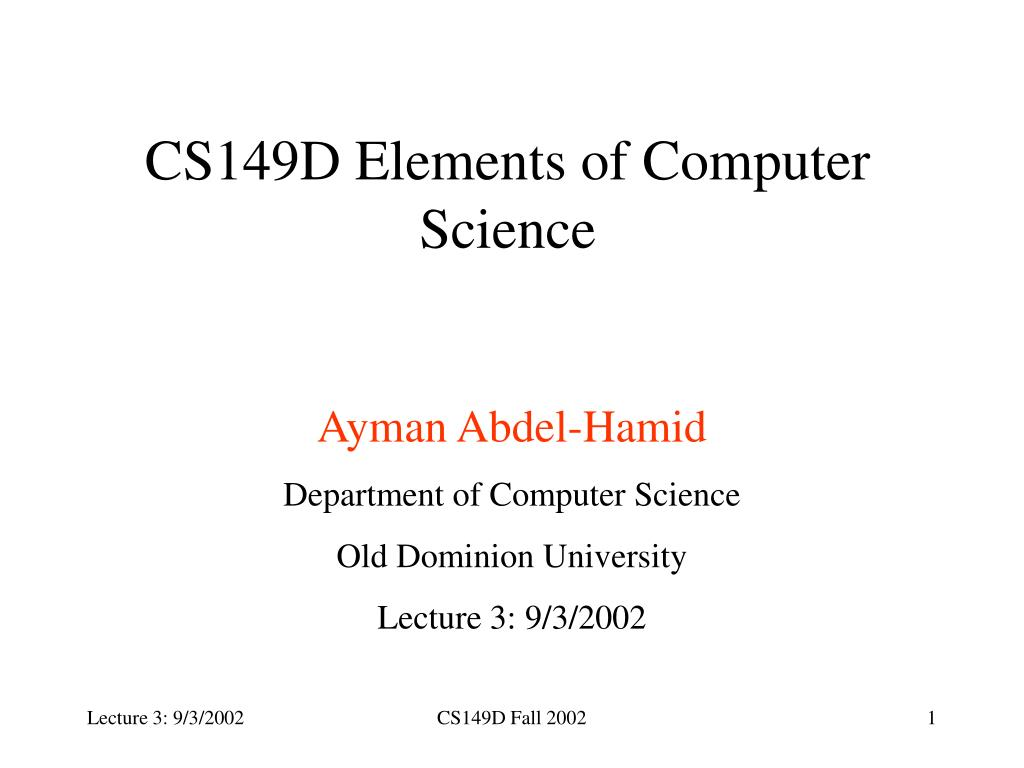 CS149D Elements of Computer Science